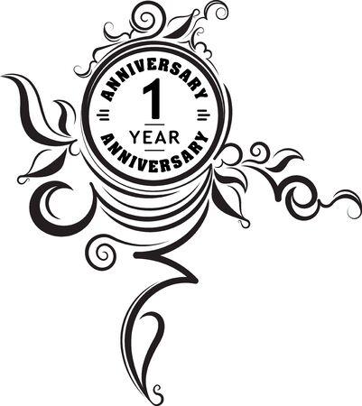 commemoration: Vintage anniversary 1 year unusual round floral emblem.