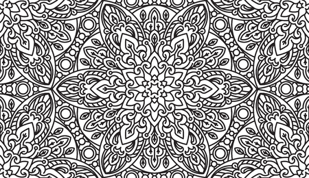 asian and indian ethnicities: Seamless Abstract Tribal Black-White Pattern. Hand Drawn Ethnic Texture Illustration