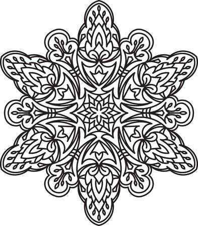 heptagon: Abstract vector black round, heptagon lace design in mono line style - mandala, ethnic decorative element.