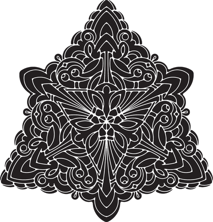 sacramental: Abstract unusual triangle round floral round decor lace mandala for your design or tattoo Illustration
