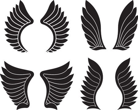 pairs: Set of four pairs of black wings. Vector illustration. Illustration