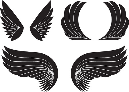 pairs: Set of three pairs of black wings. Vector illustration.