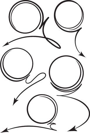 flechas curvas: Conjunto de 5 iconos negros en espiral flechas curvadas para texto o diseño publicitario. ilustración vectorial
