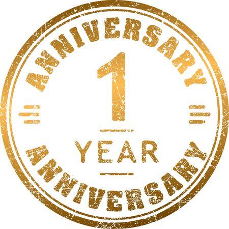 1 year anniversary: Vintage anniversary 1 year round grunge round stamp. Retro styled illustration.