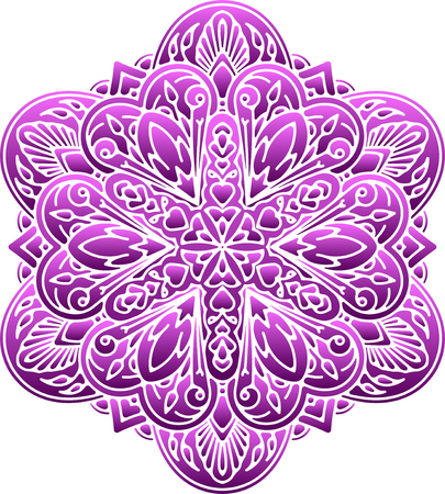napkin: Abstract, colorful round lace design mandala, ethnic decorative element or tattoo in light violet tones.
