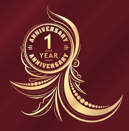 one year old: Vintage anniversary 1 years unusual round floral emblem. Retro styled background in gold tones on dark red background.