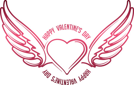 heart with wings: Valentines decor with heart, wings and caption Happy Valentines Day Illustration