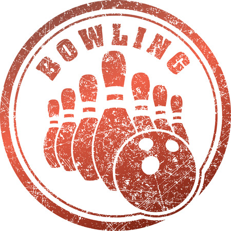 Abstract bowling rubber stamp grunge design in red tones.