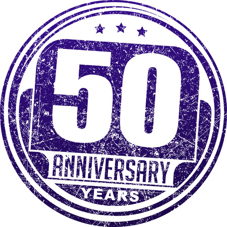 50 years: Vintage anniversary 50 years round grunge round stamp. Retro styled illustration in blue tones.