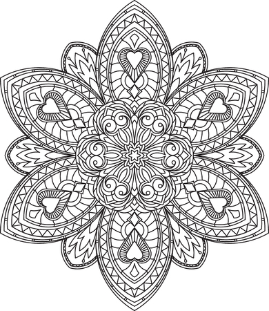 Abstract black round lace design in mono line style - mandala, ethnic decorative element. Can be used as anti stress therapy. Illustration