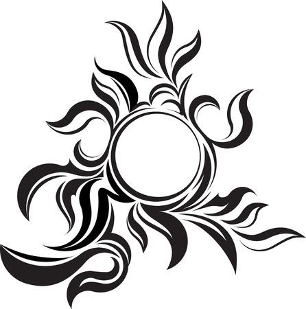mendi: Unusual round vintage frame for your design or tattoo.  Illustration