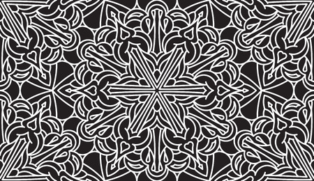 asian and indian ethnicities: Seamless Abstract Tribal Black-White Pattern. Hand Drawn Ethnic Texture. Illustration in black tones.