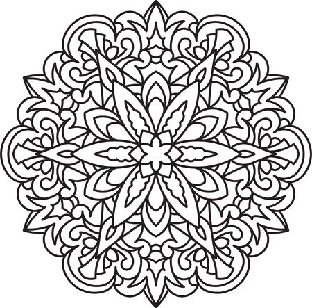 circle design: Abstract black round lace design in mono line style - mandala, ethnic decorative element. Can be used as anti stress therapy. Illustration