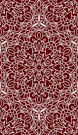 asian and indian ethnicities: Seamless Abstract Tribal Pattern. Hand Drawn Ethnic Texture. Illustration In Dark Red tones.