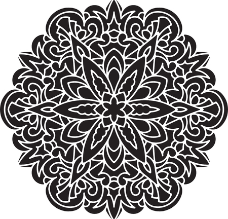floral ornaments: Abstract, colorful round lace design mandala, ethnic decorative element or tattoo in black tones.