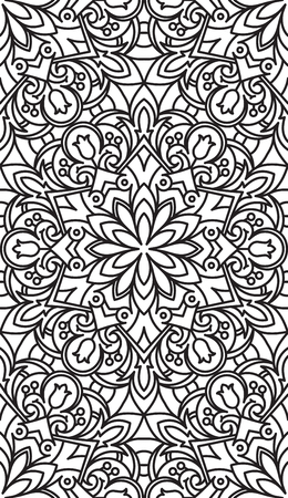 asian and indian ethnicities: Seamless Abstract Tribal Black-White Pattern. Ethnic Texture. Illustration.
