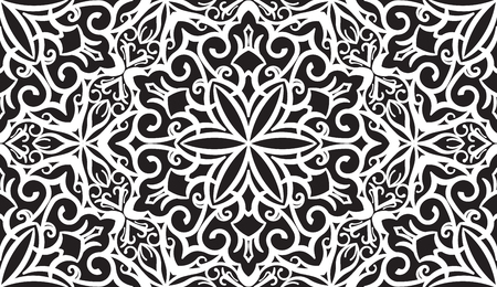 indian traditional: Seamless Abstract Tribal Black-White Pattern. Hand Drawn Ethnic Texture. Vector Illustration in black tones. Illustration
