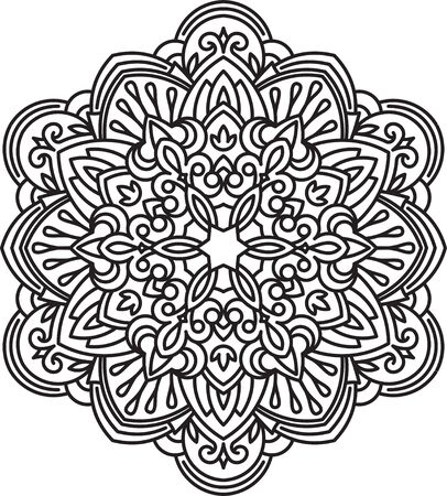 decorative element: Abstract vector black round lace design in mono line style - mandala, ethnic decorative element. Can be used as anti stress therapy.
