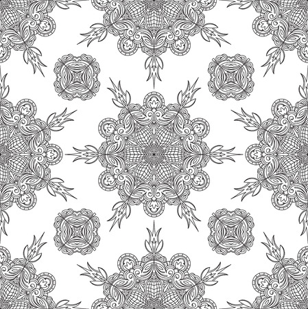 asian and indian ethnicities: Seamless Abstract Tribal Black-White Pattern. Hand Drawn Ethnic Texture.