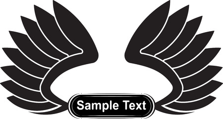 black wings: Pair of black wings with copy space for text.