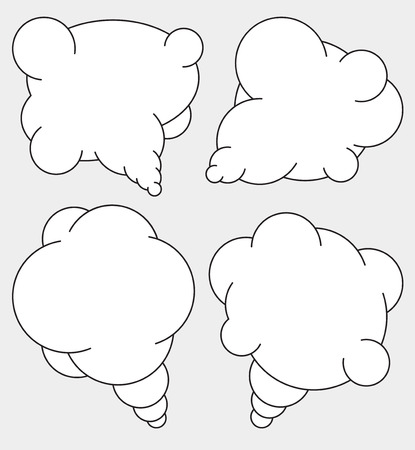 mono: Set of 4 abstract talking bubbles in mono line style with white fill.