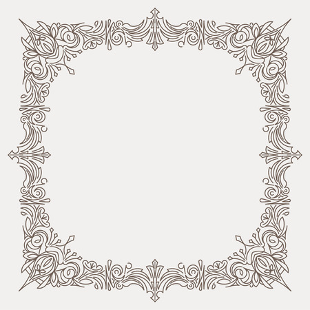struttura decorativa quadrata decorata in stile linea mono con angoli arrotondati