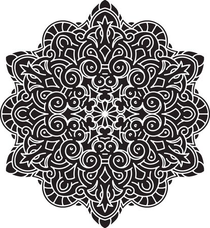 decorative element: Abstract black vector round lace design - mandala, decorative element.