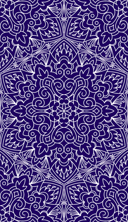 asian and indian ethnicities: Seamless Abstract Tribal Pattern. Hand Drawn Ethnic Texture. Vector Illustration In Dark Blue tones.