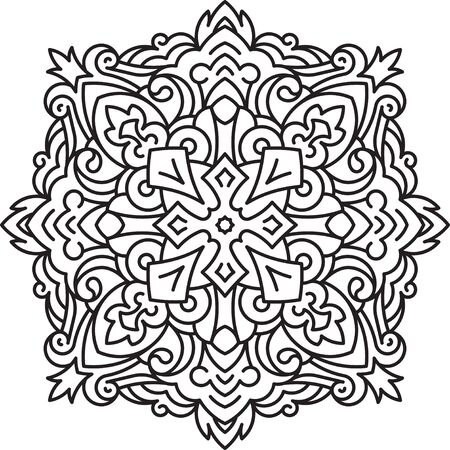 sacramental: Round asymmetrical decorative element - lace mandala in zentangle style. Stylized vector flower for design or tattoo.