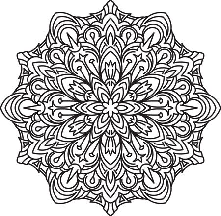 asymmetrical: Round asymmetrical decorative element - lace mandala in zentangle style. Stylized vector flower for design or tattoo.