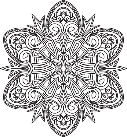 serviette: Abstract vector black round lace design - mandala, ethnic decorative element. Can be used as anti stress therapy.