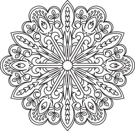 serviette: Abstract vector black round lace design in mono line style - mandala, ethnic decorative element. Can be used as anti stress therapy.