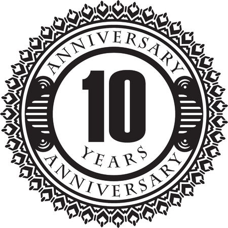 10th: Vintage anniversary 10 years round emblem. Retro styled vector background in black tones. Illustration