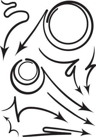 flechas curvas: Conjunto de 9 flechas en espiral y curvas negras. ilustración vectorial Vectores