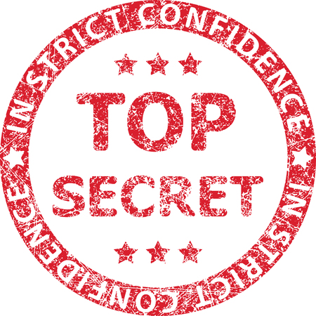 strict: Top secret red rubber stamp with caption IN STRICT CONFIDENCE Illustration