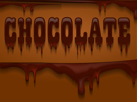 caption: Caption CHOCOLATE with drips and shadow on dark background
