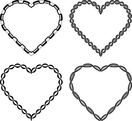 Set di 4 a forma di cuore cornici decorate decorate ricche per la progettazione o tatuaggio.
