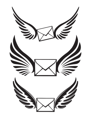 pairs: Three pairs of wings with envelopes for your logo or design.