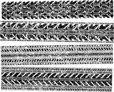 skidding: A set of 4 detailed tire prints for your design. Vector illustration.