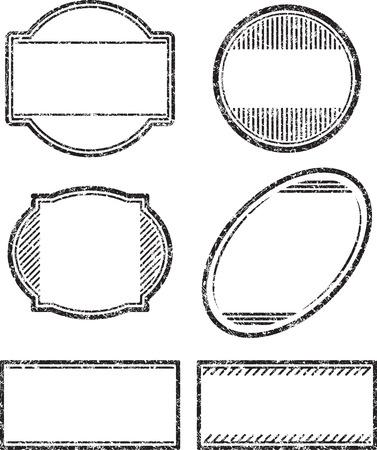 vintage stamp: Set of 6 grunge rubber stamps templates Illustration
