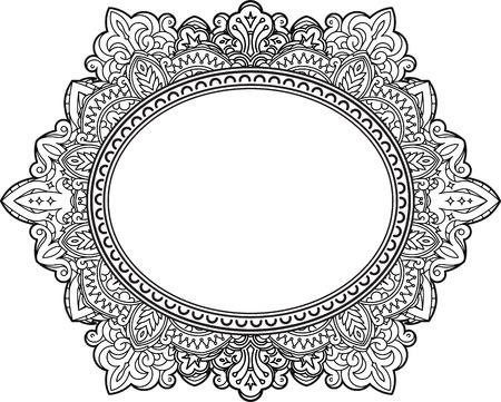Rich décoré motif cadre ovale. Vector décoratif fond dans le style d'origine indienne pour livre de coloriage, conception de textile, des sacs, des emballages de produits, brochures, dépliants.