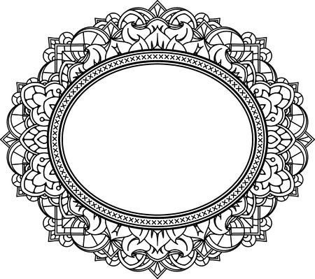 Rich décoré motif cadre ovale. Vector décoratif fond dans le style d'origine indienne pour livre de coloriage, conception de textile, des sacs, des emballages de produits, brochures, dépliants. Banque d'images - 53134730