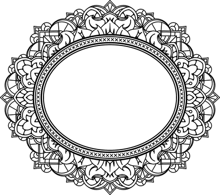 Rich decorated oval frame pattern. Vector decorative background in ethnic Indian style for coloring book, design of textile, bags, product packaging, brochures, flyers. Illustration