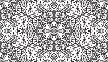 ethnicity: Seamless Abstract Tribal Black-White Pattern. Hand Drawn Ethnic Texture. Vector Illustration.