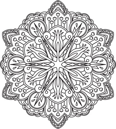 anti stress: Abstract vector black round lace design - mandala, ethnic decorative element. Can be used as anti stress therapy.