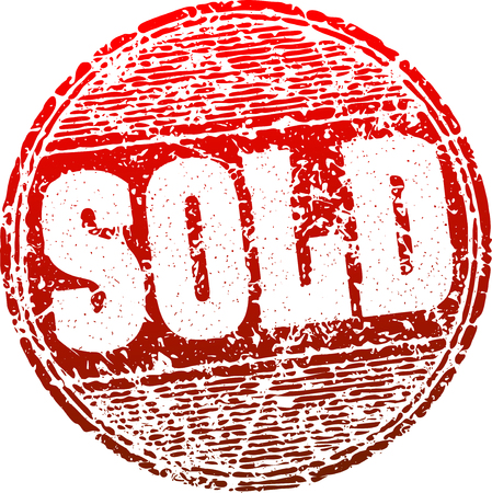 temporarily: Sold red grunge style vector rubber stamp