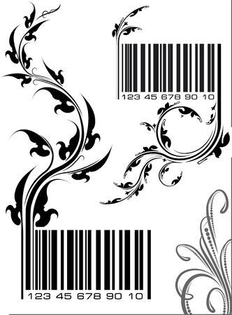 bar codes: Pair of vector illustrations - bar codes with floral branch. Can use as conceptual ecological design.