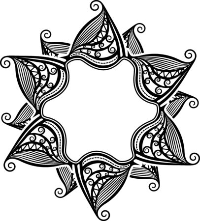 glass windows: Unusual lace frame, decorative element with empty place for your text. Vector illustration.