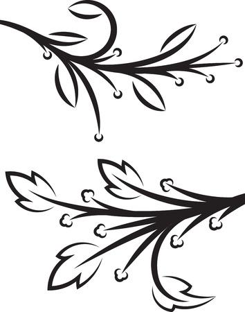 Coppia di rami decorativi floreali. Illustrazione vettoriale.