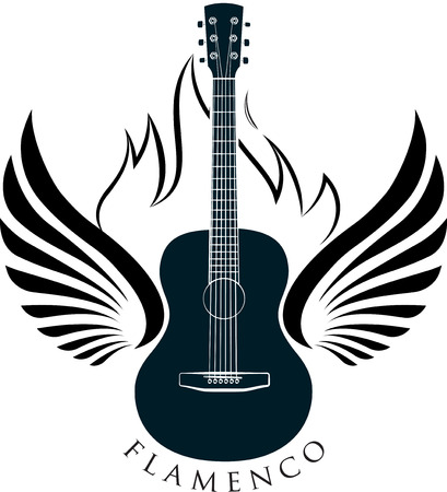 nylon string: Classic guitar emblem with wings, fire and caption FLAMENCO